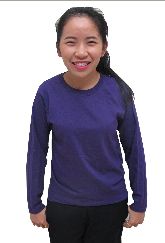เสื้อยืดคอกลมแขนยาว สีม่วง
