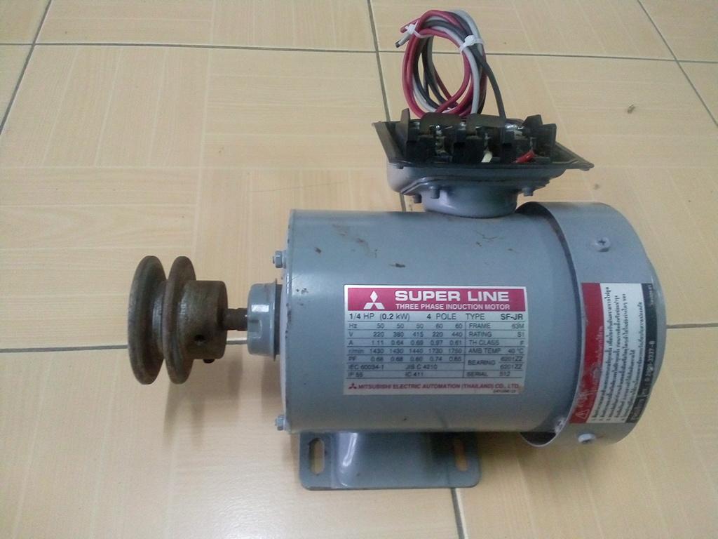 MITSUBISHI AC Motor 1/4HP 3 Phase 4 Pole สินค้ามือ 2 (ไม่มีฝาปิด)