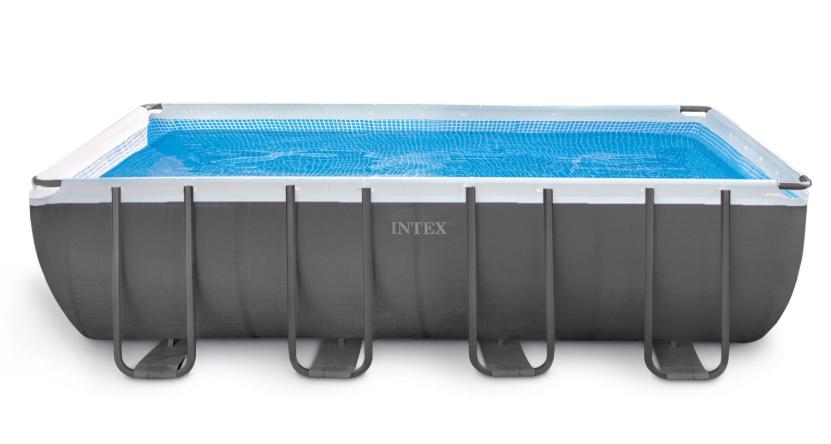 INTEX สระสี่เหลี่ยมอัลทร้าเฟรม 18 ฟุต เครื่องกรองระบบทราย - ระบบน้ำเกลือ (5.49 x 2.74 x 1.32 ม.)
