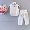 ชุดเซ็ท เสื้อ+กางเกง เข้าชุดกันเป็นอย่างดี พร้อมเชือกผูกกางเกง เอวยางยืดค่ะ