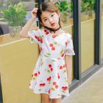 ชุดเดรสสาวน้อยสีขาว ลายลูกเชอร์รี่สีแดง ซิบด้านหลัง น่ารักสดใสมากค่ะ