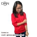 เสื้อยืดคอกลมแขนยาว สีแดง