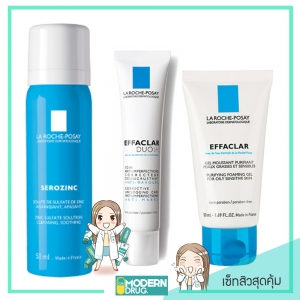 La roche-Posay EFFACLAR DUO [+] 15 ml.+EFFACLAR PURIFYING FOAMING GEL 50 ml.+SEROZINC OIL BLOTTING MIST 50ML เซ็ทสิวสุดคุ้ม