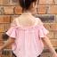 ชุดเซ็ทเด็กโต เสื้อเปิดไหล่สีชมพู+กางเกงยีนส์ น่ารักสดใส ใส่แล้วดูเก๋น่ารักมากๆเลยค่ะ thumbnail 4