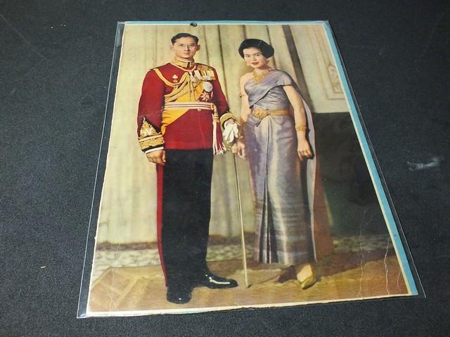 ภาพพิมพ์เก่า ในหลวงเเละพระราชินี ขนาด 19X27 ซม